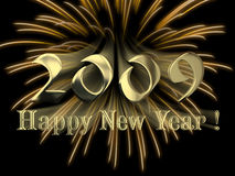 Happy New Year 2009. With yellow fireworks Royalty Free Stock Images