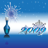 Happy New Year 2009. Colorful illustration with blue bottle of champagne, abstract snowflakes, fireworks and small stars, for the New Year's Day Royalty Free Stock Photos