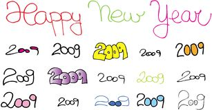 Happy new year 2009. On white background. vector image Stock Photo
