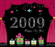 Happy new year 2009. Happy new year image with magical theater curtain. To see similar stuff, please visit my gallery stock illustration