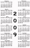 Happy New Year 2009 Calendar Stock Images