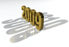Happy New Year 2009 gold. The list of New Years in gold stock illustration