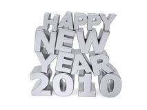 Happy new year 2010. In metal shiny letters vector illustration