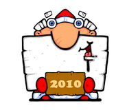 Happy New Year - 2010. This old man always comes To us on the New Year. He comes out of the woods, brings the toys, Sweets bears. Happy New Year royalty free illustration