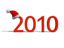 Happy New Year 2010. New year's date with Santa's hat isolated on white Stock Photography