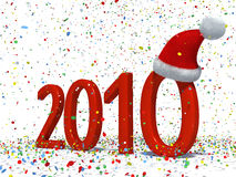 Happy New Year 2010. New year 2010 date with Santa's hat and colourful confetti Royalty Free Stock Photos