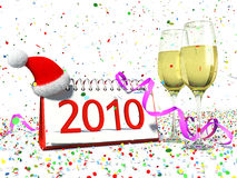 Happy New Year 2010. Calendar with date of 2010, christmas hat, glasses with yellow champagne, confetti. Festive new year's atmosphere Royalty Free Stock Images