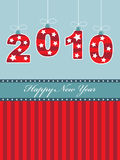 Happy new year 2010. New year 2010 background in red and blue with decorations and banner royalty free illustration
