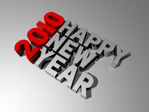 Happy new year 2010. Three dimensional 2010 happy new year message Stock Photo