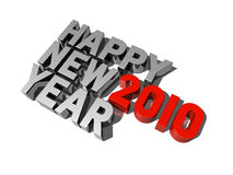 Happy new year 2010. Three dimensional 2010 happy new year message Stock Image