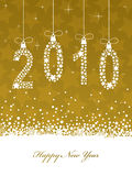 Happy new year 2010. New year 2010 background in gold with decorations and banner Royalty Free Stock Photography