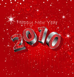 Happy New Year 2010. Shiny  and 3d New Years Card for 2010 Stock Photography