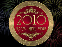 Happy New Year 2010. Coin on the Happy New Year 2010 with fireworks in the background Royalty Free Illustration