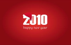 Happy New Year 2010 with cap. Against red background royalty free illustration