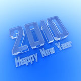 Happy New Year 2010 the ice text. On a blue background stock illustration