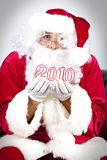 Happy new year 2010 from santa claus Stock Photos