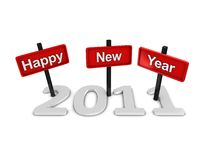 Happy new year 2011. 2011 happy new year sign isolated over white Royalty Free Stock Photography