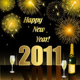 Happy New Year 2011. Illustration Happy New Year 2011 with fireworks Royalty Free Stock Photo