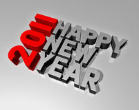 Happy new year 2011. Three dimensional 2011 happy new year message Stock Image