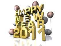 Happy New Year 2011. In gold text Stock Images