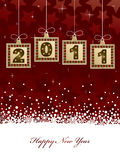 Happy new year 2011. New year 2011 background in red with decorations and banner Stock Photo