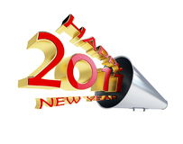 Happy new year 2011. Megaphone isolated on a white background Royalty Free Stock Photos