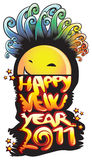 Happy new year 2011. New year cartoon happy face 2011 Stock Photography
