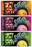 Happy new year 2011. Three horizontal banner with happy new year 2011 Royalty Free Stock Photography