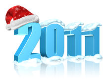 Happy New Year 2011. New year 2011 date with Santa's hat Stock Image