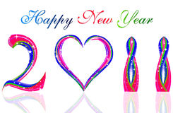 Happy new year 2011. With colorful wave & heart concept vector illustration