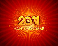 Happy New Year 2011. Red and yellow illustration with exploding background, Happy New Year 2011 Royalty Free Stock Photography