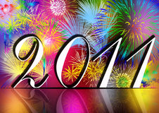 Happy New Year 2011. With fireworks in the background Royalty Free Stock Photography