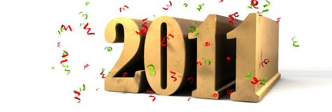 Happy New year 2011. 3d illustration Royalty Free Stock Photo