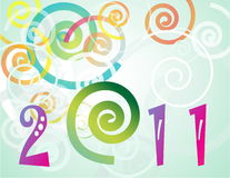 Happy New Year 2011 background. With spiral Stock Photo