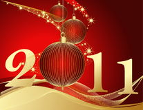 Happy New Year 2011 background. Gold and red Stock Images