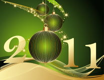 Happy New Year 2011 background. Gold and green Vector Illustration