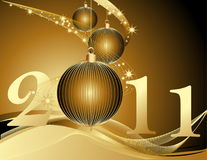 Happy New Year 2011 background. With gold decoration Royalty Free Stock Photo