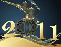 Happy New Year 2011 background. Gold and blue Vector Illustration