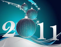 Happy New Year 2011 background. Silver and blue Royalty Free Illustration