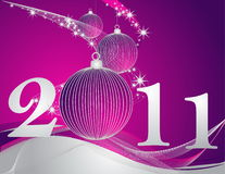 Happy New Year 2011 background. Silver and violet Stock Image