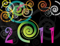 Happy New Year 2011 background. With spiral Royalty Free Stock Photography