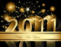 Happy New Year 2011 background. With gold decoration Stock Photography