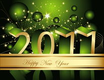 Happy New Year 2011 background. Gold and green Stock Images