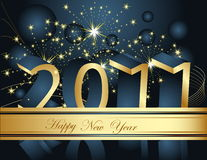Happy New Year 2011 background. Gold and blue Stock Image