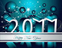 Happy New Year 2011 background. Silver and blue Stock Image