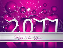 Happy New Year 2011 background. Silver and violet Stock Photos