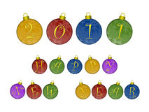Happy New Year 2011 on Colorful Ornaments. Happy New Year 2011 Text on Colorful Ornaments Illustration Stock Images
