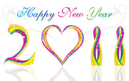 Happy new year 2011 colorful wave & heart concept. Happy new year 2011 with colorful wave & heart concept stock illustration