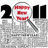 Happy new year 2011 concept. With word collage and magnifier Royalty Free Stock Images