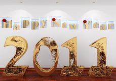 Happy New Year 2011 from the gold water Royalty Free Stock Photo